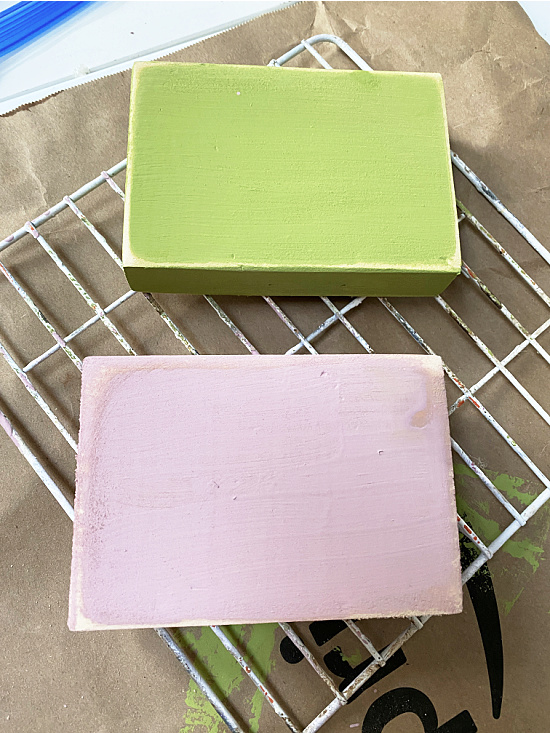 distressed pink and green blocks
