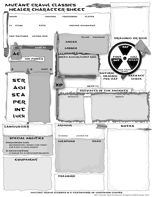 Mutant Crawl Classics Healer Character Generator Version 3