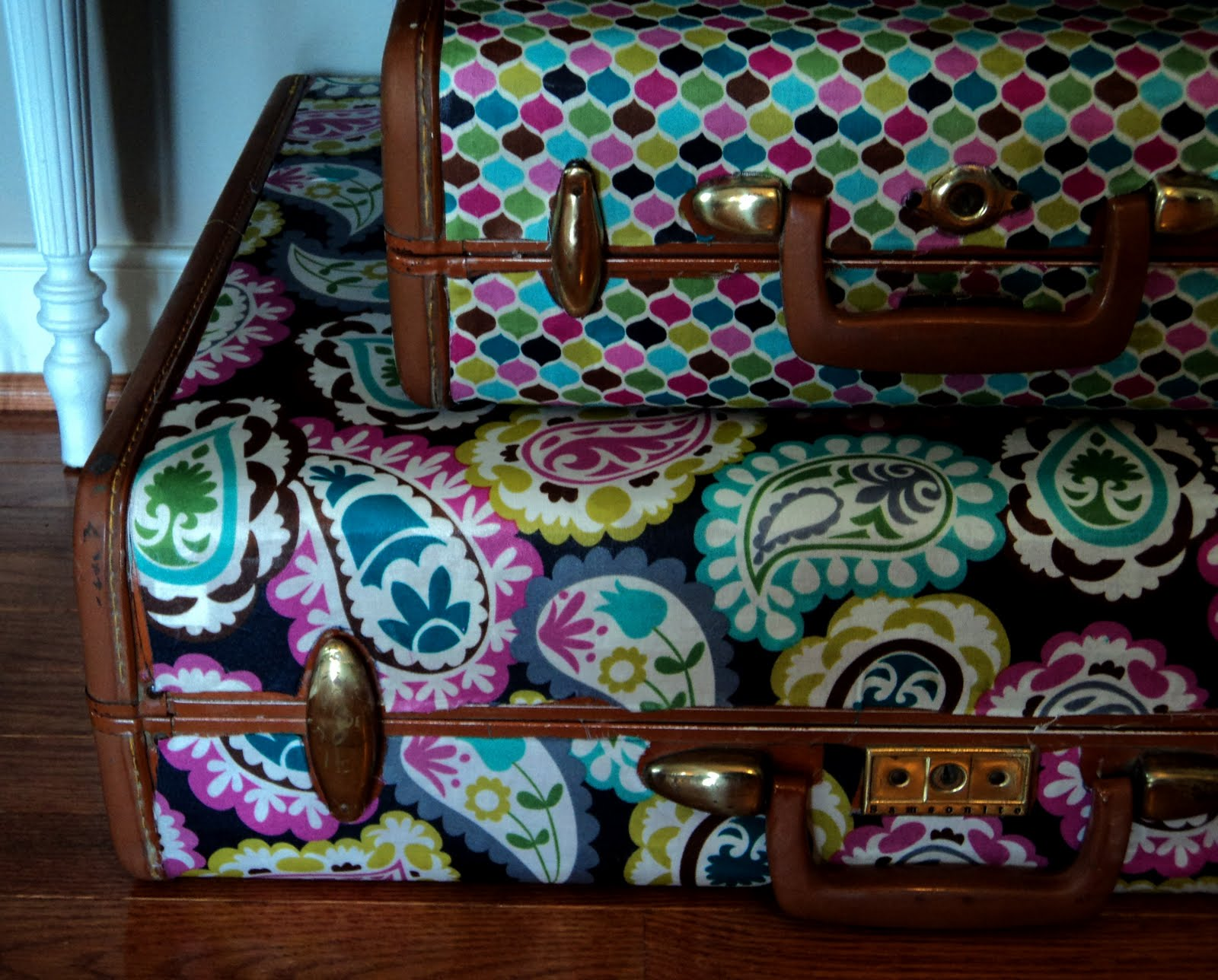 Vintage suitcase fabric makeover