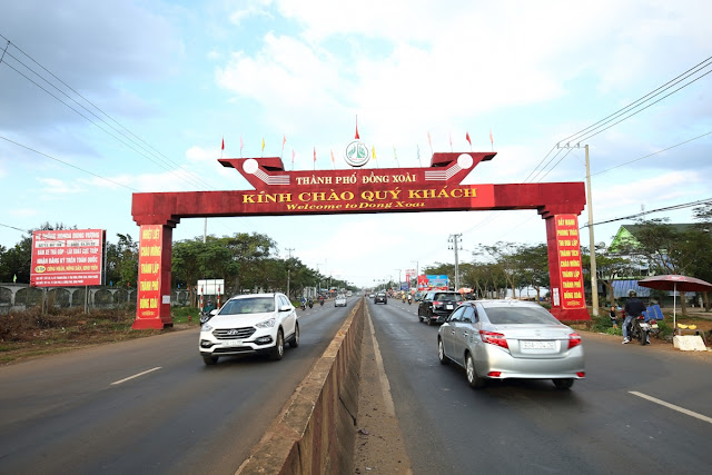 Cổng chào vào Thành Phố Đồng Xoài để đến Khu Đô Thị Cát Tường Phú Hưng