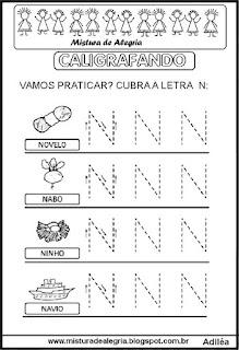 Caligrafando letra N pontilhada
