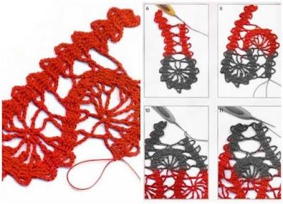Punto crochet encaje con motivos Brugge
