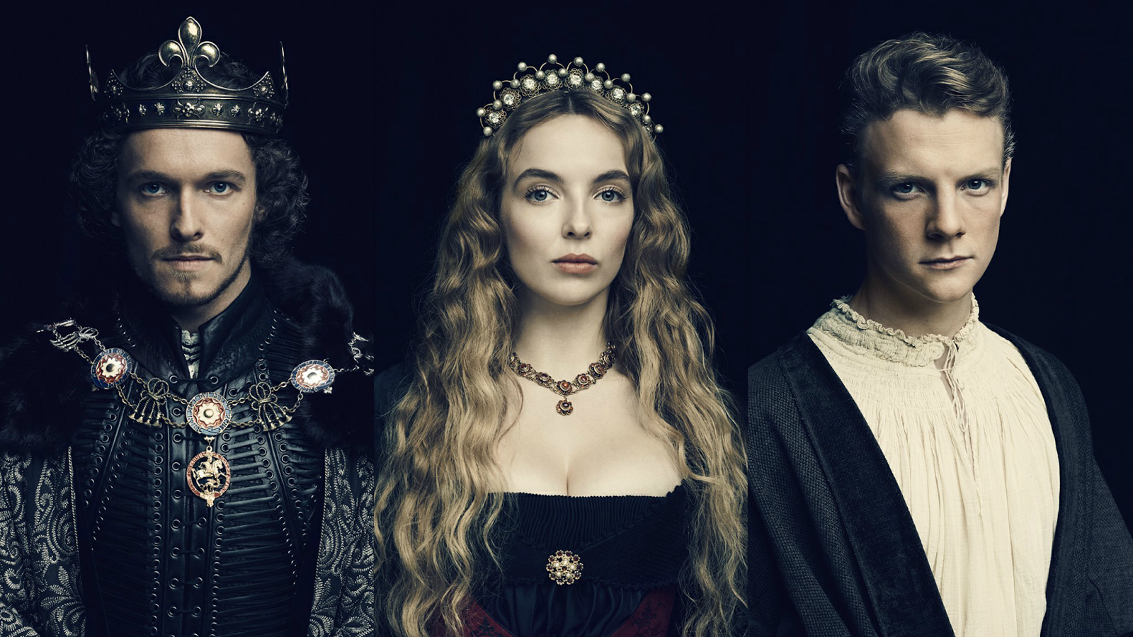 Promotional Portraits of Henry VII (Jacob Collins-Levy), Lizzie (Jodie Comer) and The Boy (Patrick Gibson) for The White Princess