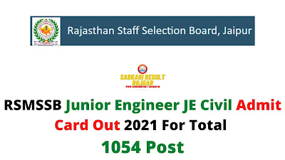 RSMSSB Junior Engineer JE Civil Admit Card Out 2021 For Total 1054 Post