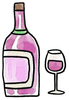 赤ワインのイラスト「ボトルとグラス」