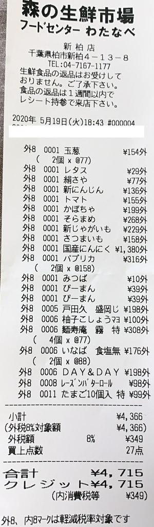フードセンターわたなべ 新柏店 2020/5/19 のレシート