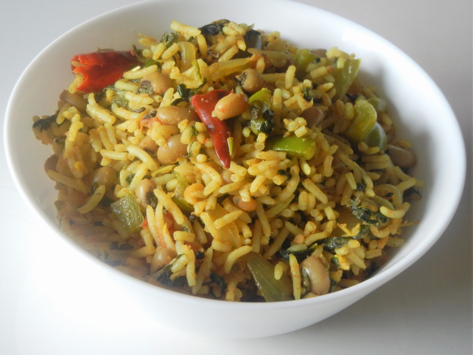 Gitas kitchen a blog for indian diabetic recipes and healthy recipes spinach and black eyed peas tomato rice forumfinder