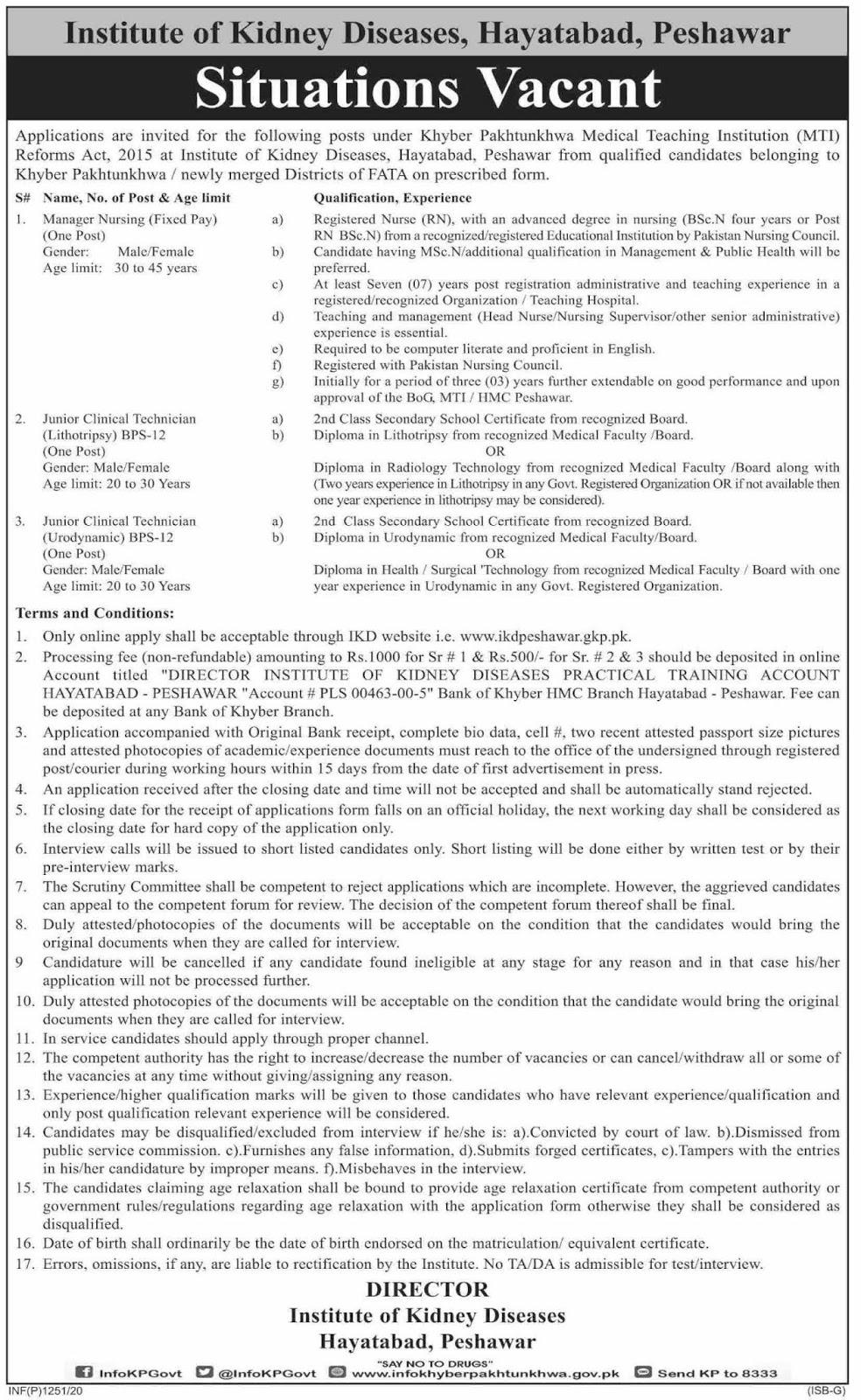 Jobs in Institute of Kidney Diseases Hayatabad, Peshawar 2020