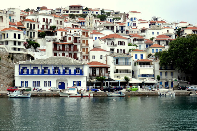 Skopelos Old Town facade from the harbour
