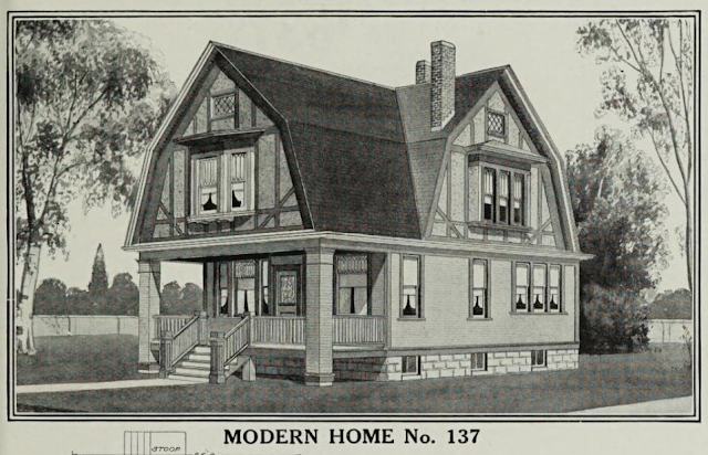 black & white image of Sears No 137 model in the 1911-1912 Sears Modern Homes catalog