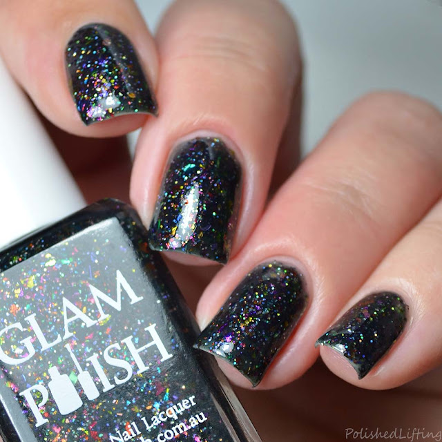 black jelly polish rainbow flakes