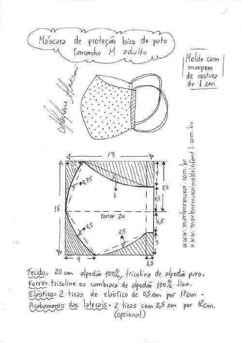 Como fazer máscara bico de pato - molde