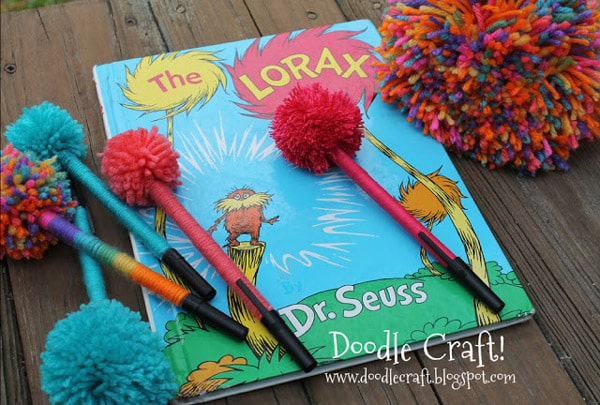 Dr Seuss (Suess) inspired Pom Pom Trufula Tree pens from the Lorax