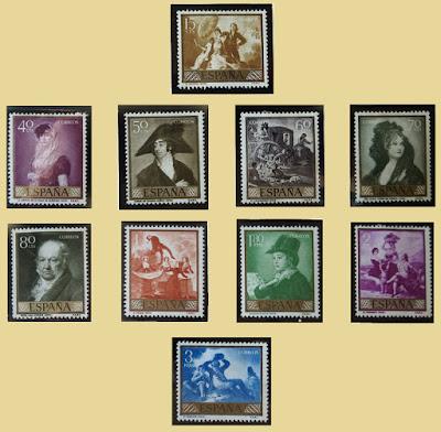 Sellos de la serie Día del Sello dedicada a Goya en 1958