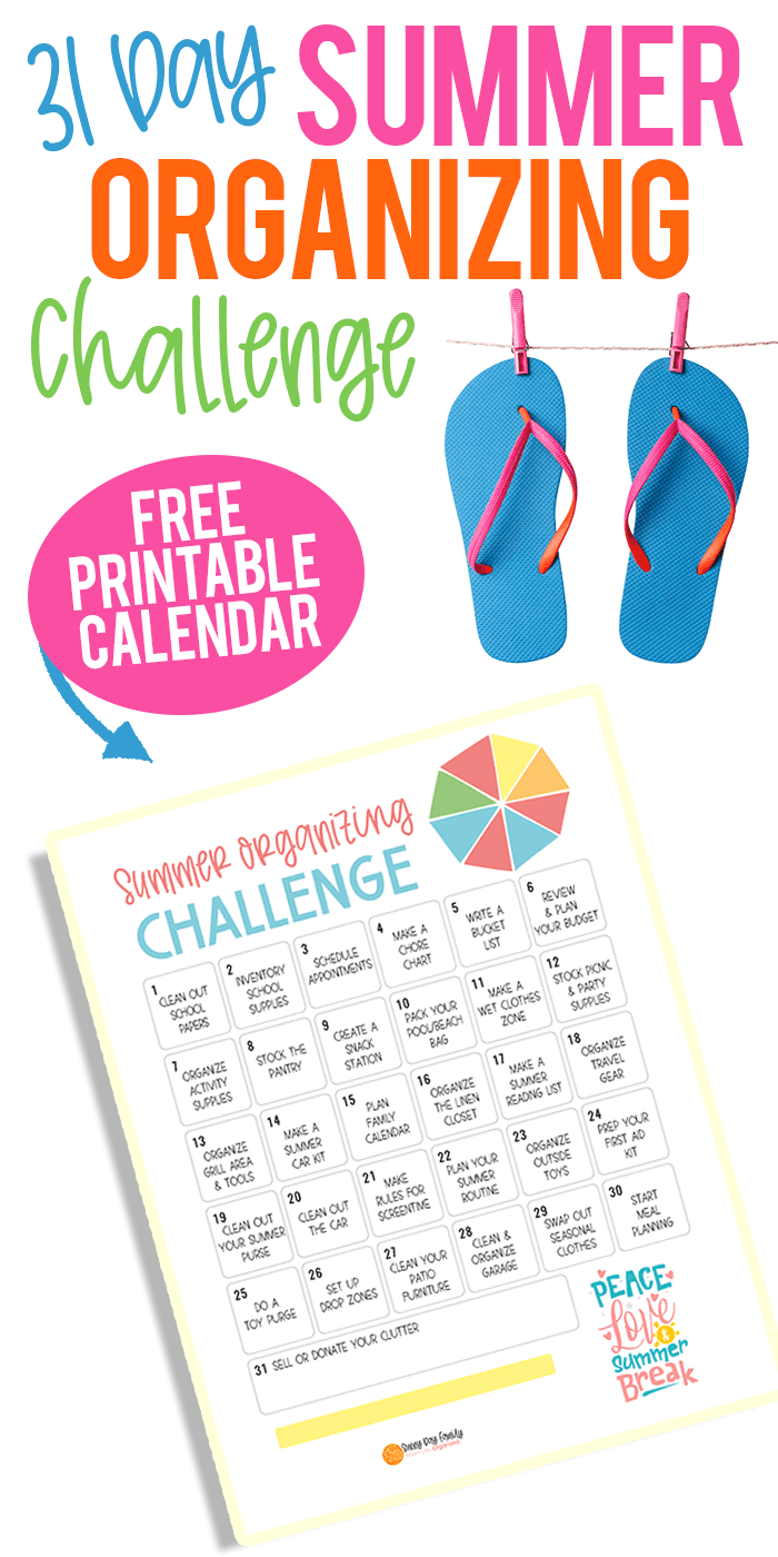 Summer Organizing Challenge! Do one little thing every day to get ready for summer break. Moms - this is a lifesaver! Get the FREE printable organizing calendar and join the organizing challenge. This is the BEST way to get ready for summer break! #organize #summer #getorganized #homeorganizing