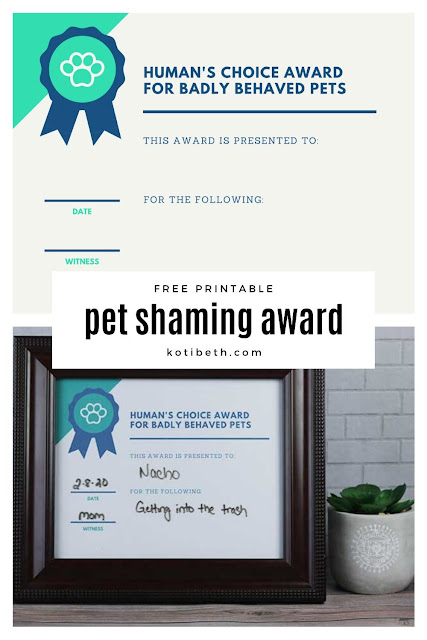 Print this free printable pet shaming award so everyone knows what your dog or cat did! This funny sign is dry erase, so you can mark what your pet did each time they are bad.  This cute sign can be placed on a shelf or hung on the wall so everyone can share in the humor of your funny pet. #pets #petshaming #dog #cat