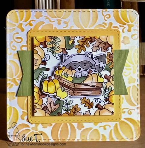 Sue's card features Pumpkin Patch, Harvest Tails, Fall Fringe, Frames Squared by Newton's Nook Designs; #newtonsnook