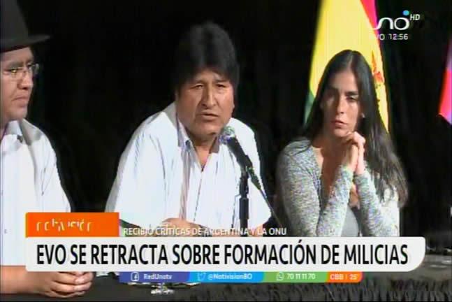 Gobierno rechaza retractación de Morales sobre milicias armadas y ratifica que debe someterse a la justicia
