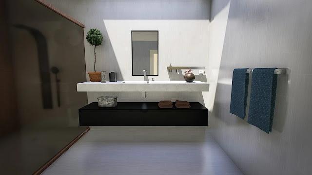 bagno-render-immagine-bagno moderno-bagno 3D