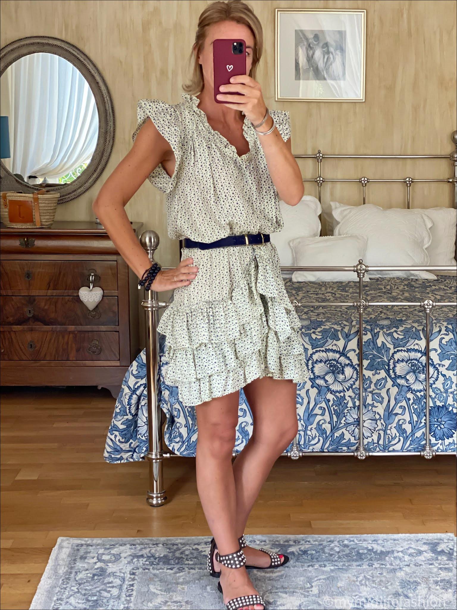 my midlife fashion, Isabel Marant silk star print dress, j crew pony skin belt, ash studded sandals