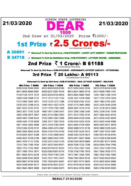 Lottery Sambad Dear 1000 Lottery 21.03.2020 Sikkim State Lotteries