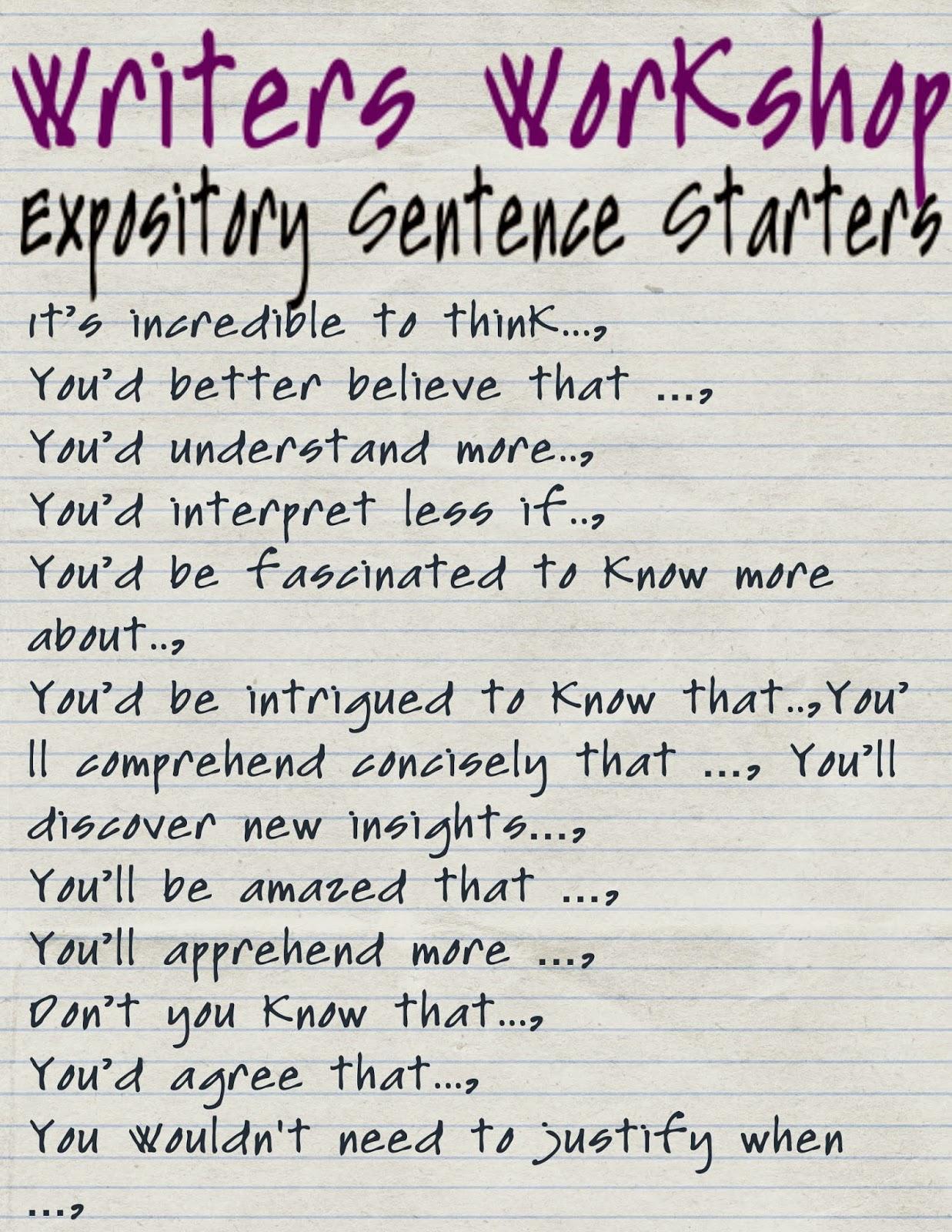 Reading Sage Expository Sentence Starters Sentence Frames