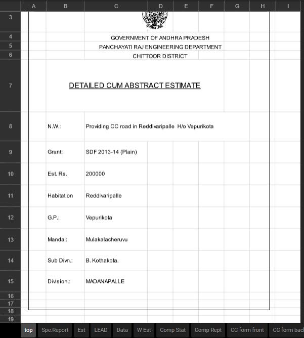 Road Estimate Excel Sheet