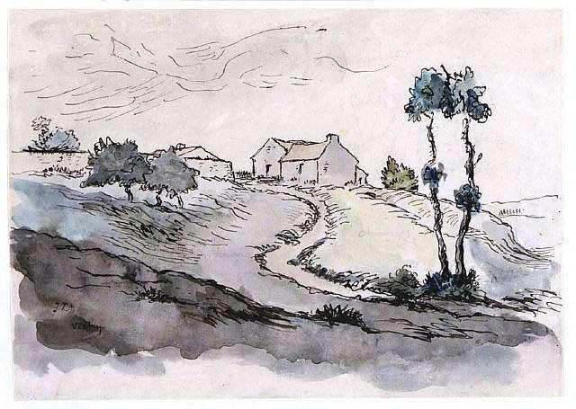 Жан Франсуа Милле - Пейзаж под Виши. 1870