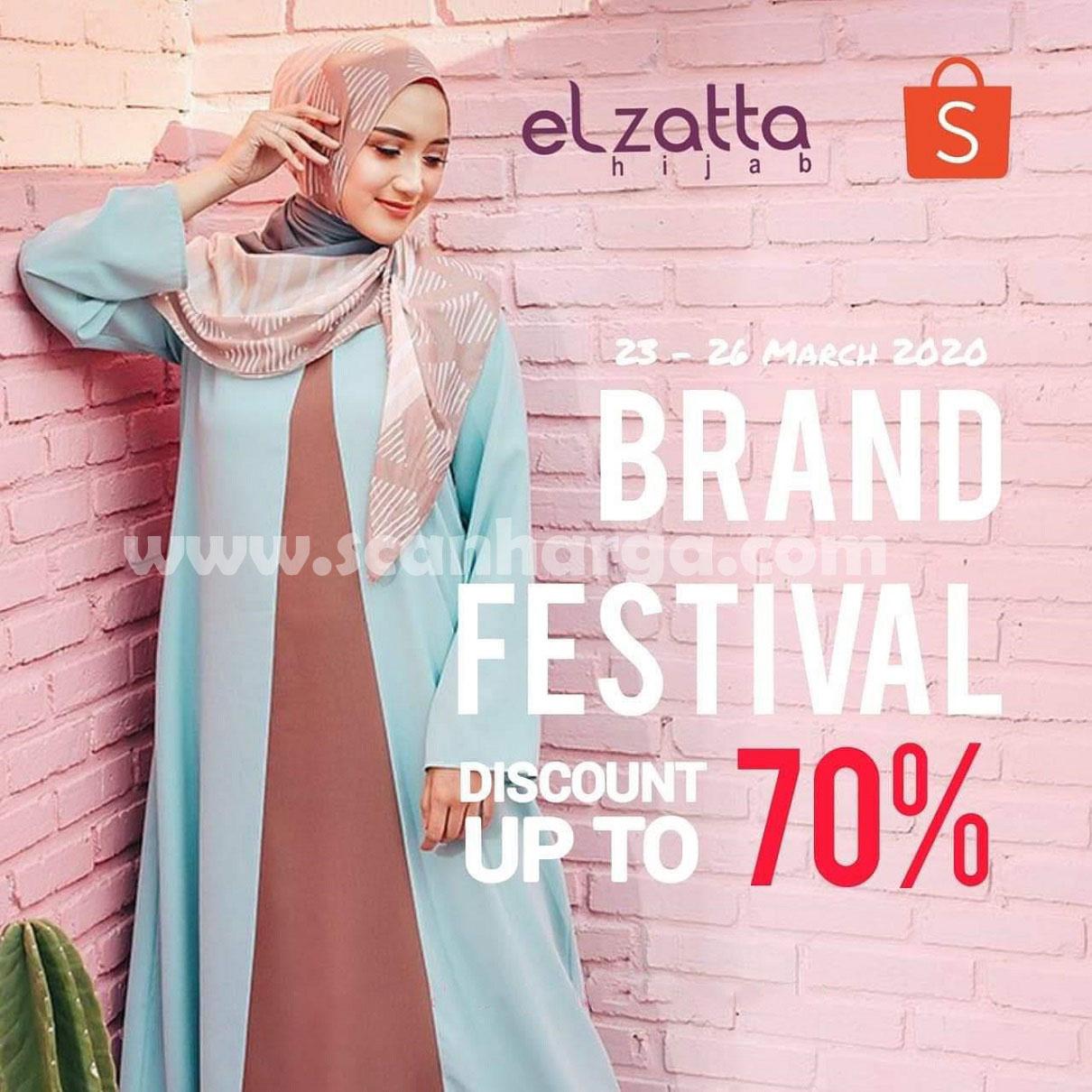 Promo Elzatta Hijab Brand Festival di Shopee Diskon Hingga 70% Periode 23 - 26 Maret 2020