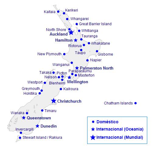Mapa de aeroportos na Nova Zelândia.