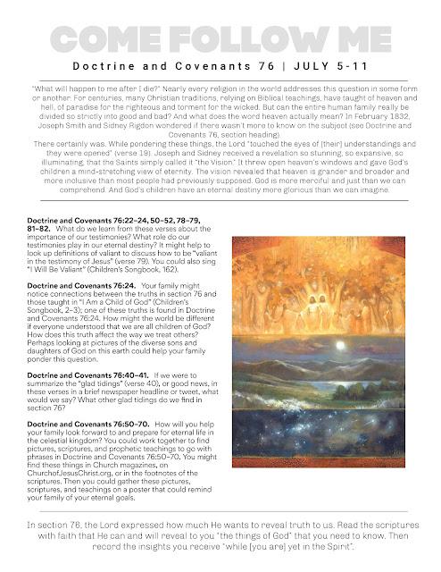 Come Follow Me Free Printable July 5-11