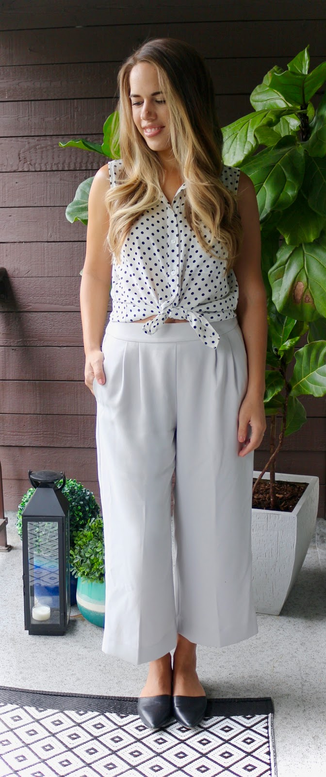 Jules in Flats - Culottes with Knotted Polka Dot Top