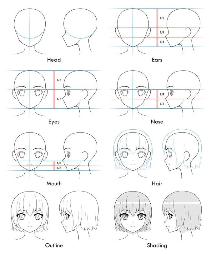 Cara Menggambar Kepala Cewek Atau Perempuan Bergaya Anime