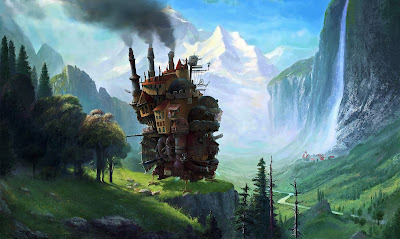 A mashup of Studio Ghibli´s brainchild Howl´s moving castle which was painted over an existing artwork by Albert Bierstadt called Staubbach Falls