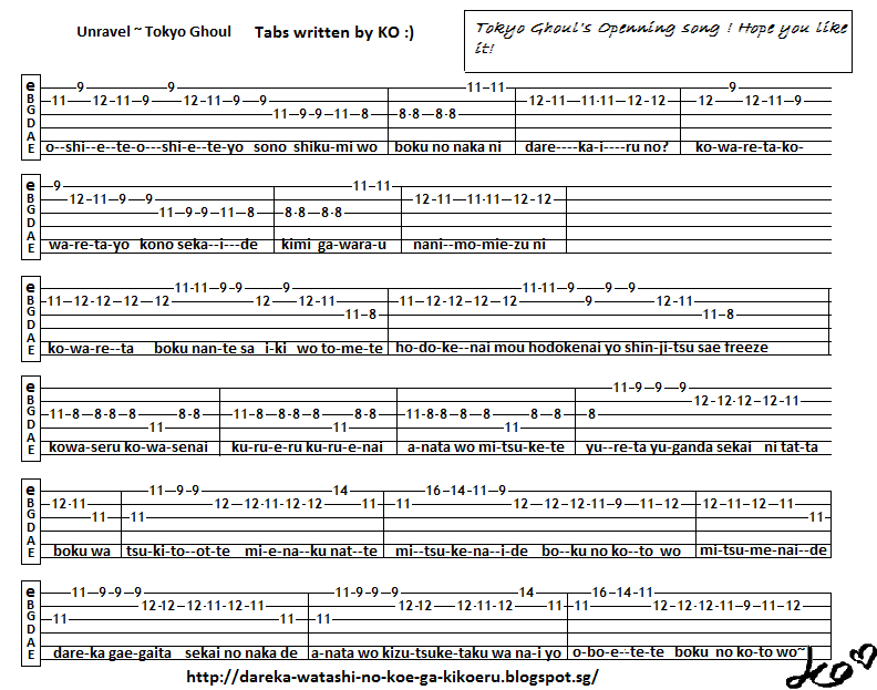 Anime Guitar Tabs Tabs For Unravel Tokyo Ghoul