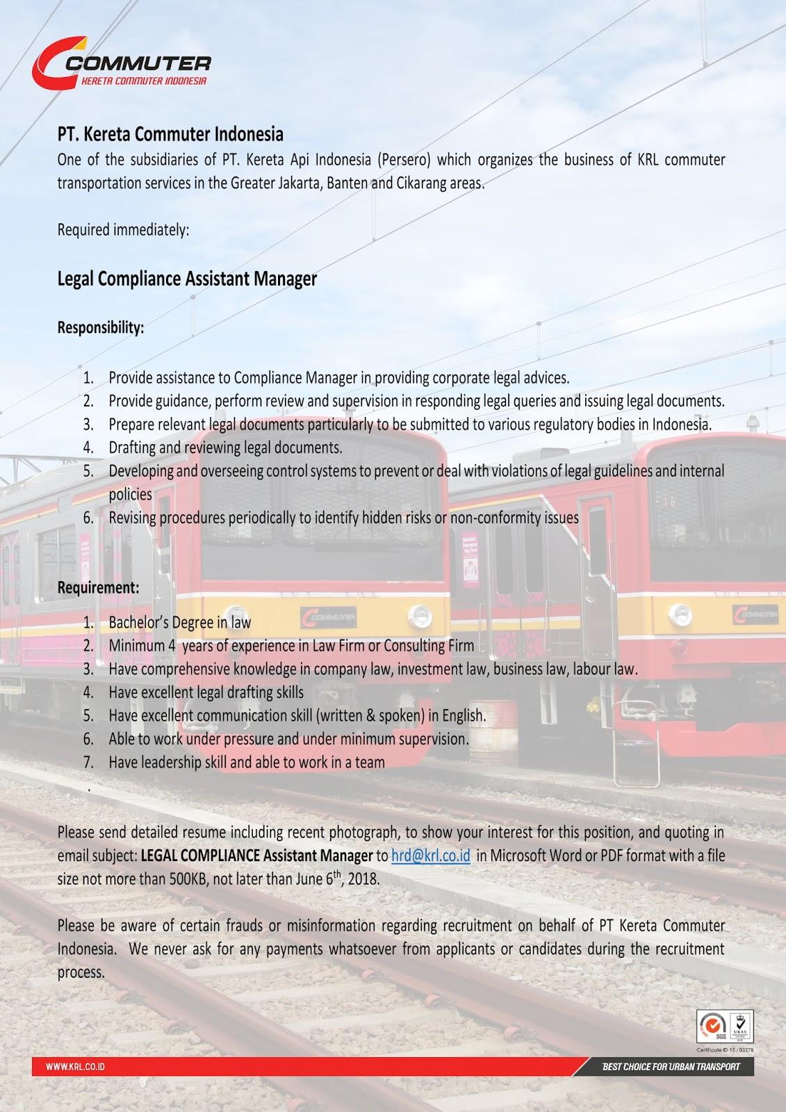 Lowongan Kerja Terbaru PT Kereta Api Commuter Indonesia