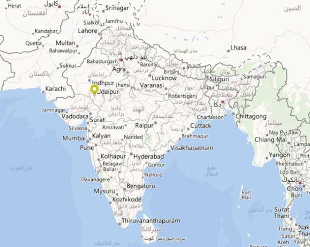 خريطة قصر بحيرة تاج في الهند Taj Lake Palace India Map