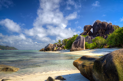 Anse Source d'Argent - Strand bei Ebbe