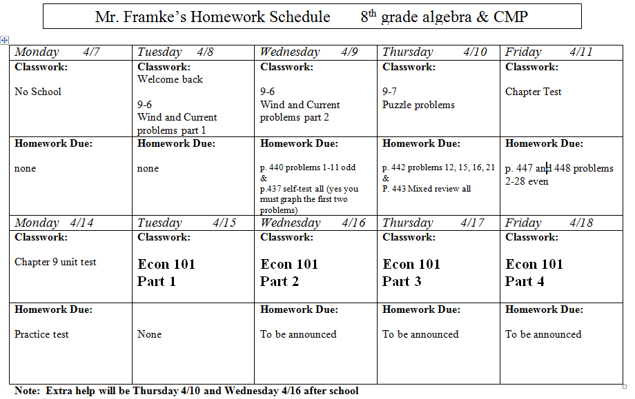 Homework help for 8th grade math