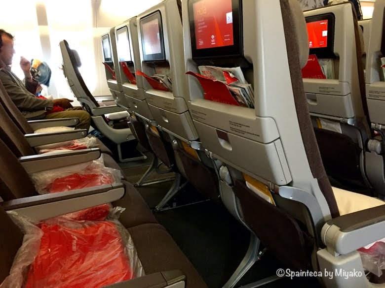 スペイン直行便イベリア航空の機内と座席