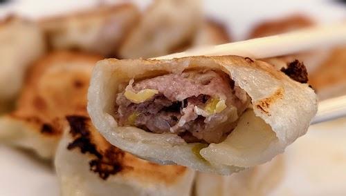 Close up of dumpling interior, pork and napa cabbage