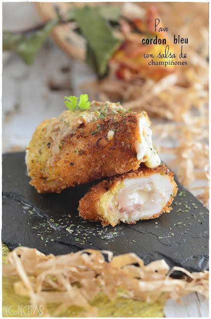 Pavo cordon bleu con salsa de champiñones