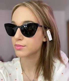 black plastic cat-eye sunglasses grey lens