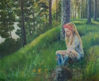 Tyttö Punkaharjulla - maalaus
