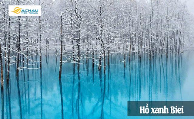 Hồ xanh Biei-Những điểm đến Nhật Bản đẹp nhất vào mùa đông