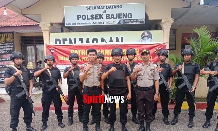 Kapolsek Bajeng Pimpin Patroli Kamandahan Yang Digelar Satuan Brimob Polda Sulsel