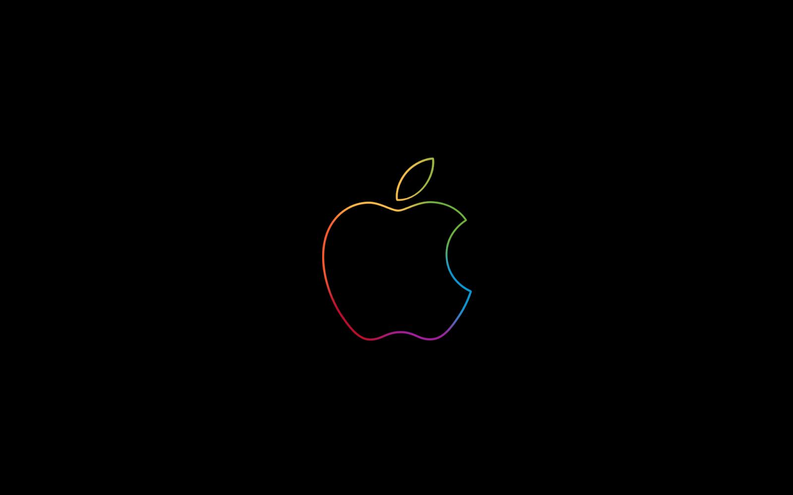 Apple Logo, Minimal, Colorful, Dark background, HD, Technology