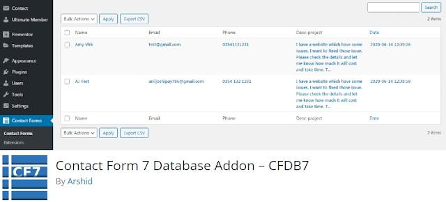 CF7 Database Addon