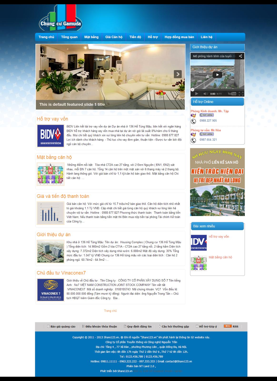 Mẫu web bán chung cư giá rẻ bằng blogger