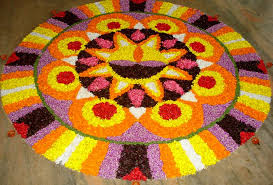 simple flower rangoli with dots
